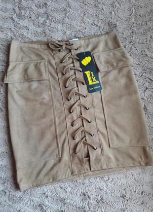 Трендовая юбка  шнуровкой /замшевая юбка