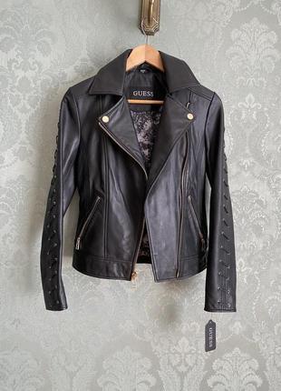 Женская натуральная кожаная куртка кожанка guess; xs
