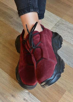 Кроссовки цвет марсала, натуральная замша кроссовки, женские замшевые кроссовки 36-40