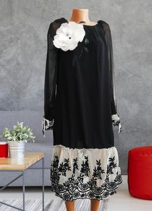 Шикарное эксклюзвное свободное платье , черное / кружево , сетка , цветы, вышивка