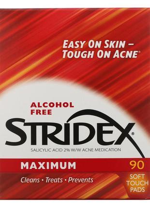 Одношаговое средство stridex от угрей, максимальная сила, без спирта, 90 мягких салфеток