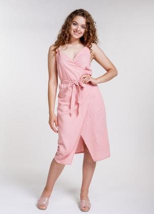 Платье из льна на запах без рукавов