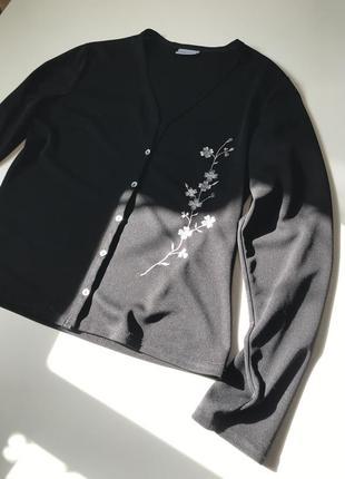 Шифоновая блуза в цветочный принт вышивка