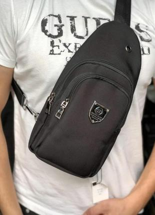 Мужская брендовая сумка слинг на плечо philipp plein
