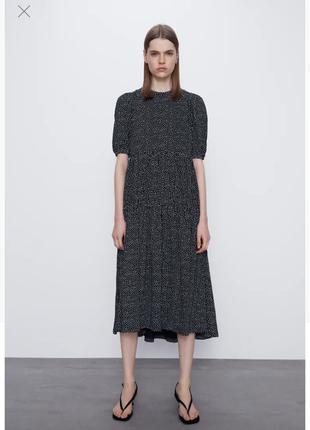 Сукня чорне плаття в горошок ярусне з воланами zara платье миди ярусное с воланами zara