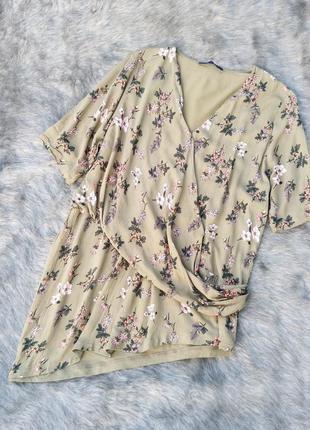 Блуза на запах с ассиметрией с цветочным принтом marks & spencer