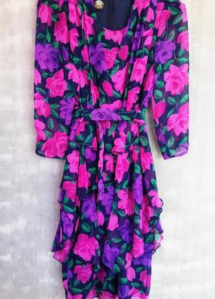 Шикарное яркое платье принт цветы /  винтаж