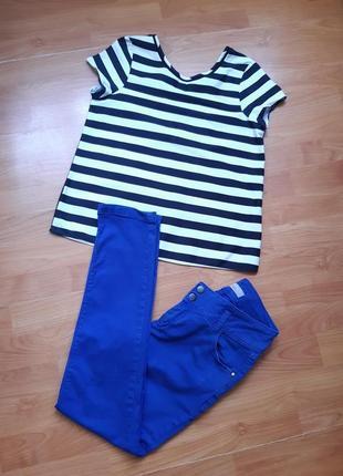Красивый комплект: плотная футболка- блуза и штаны котон