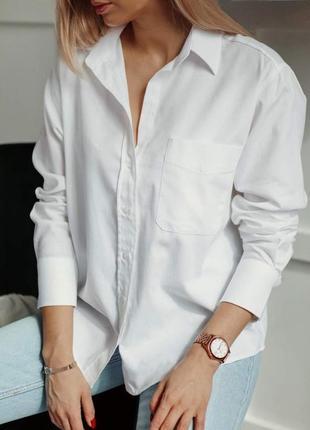 Рубашка оверзайз с карманом, сорочка, блузка, бойфренд, большого размера