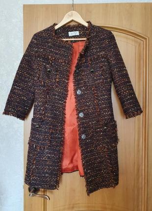 Италия пальто оригинал кардиган жакет пиджак твидовый