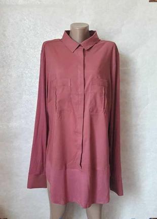 """Новая нарядная стильная блуза с комбинироваными тканями цвета """"вишня"""", размер 4 хл"""