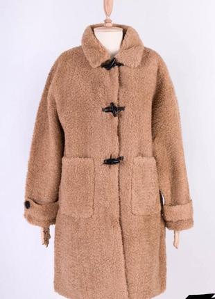 Стильная бежевая коричневая эко шуба искусственная модная хит