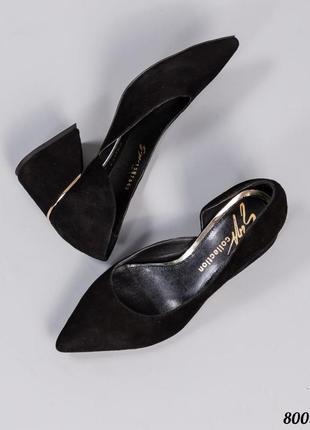 Замшевые туфли лодочки на среднем каблуке натуральная замша кожа
