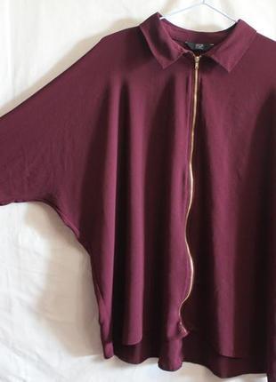 Блуза летучая мышь с молнией