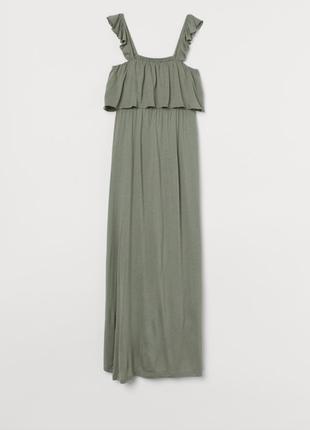 Сукня плаття хаки на бретелях для вагітних h&m mama платье на бретелях h&m mama хлопок