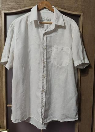Next белая льняная рубашка с коротким рукавом