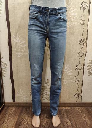 Next голубые прямые стрейчевые джинсы с высокой посадкой