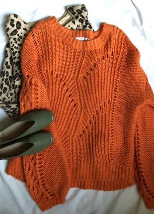 Яркий свитер оверсайз, с объёмными рукавами, тёплая кофта