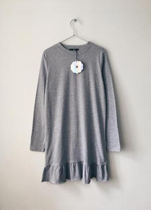 Новое базовое платье из хлопка asos daisy street сіре плаття з довгим рукавом