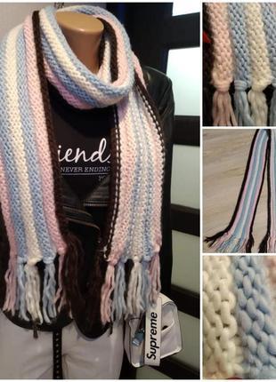 Мягкий теплый стильный длинный шарф платок палантин