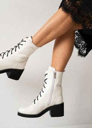 Натуральная кожа! женские ботинки на байке
