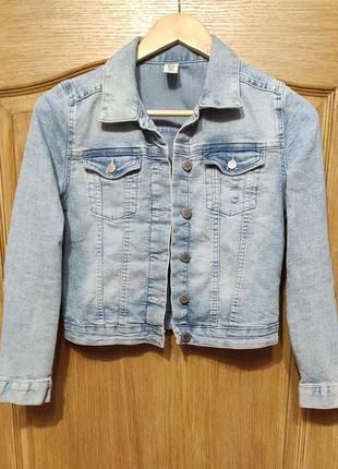 H&m голубая джинсовка, джинсовая куртка на рост 146 см