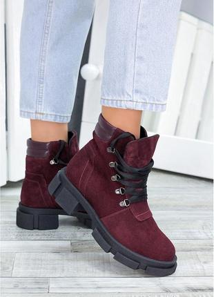 Демисезонные и зимние женские ботинки из натуральной замши с гарантией