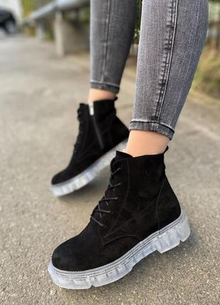 Женские ботинки замшевые осень-зима