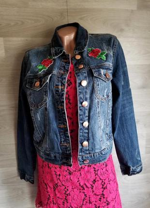 Джинсовая куртка с нашивками джинсовка куртка джинс