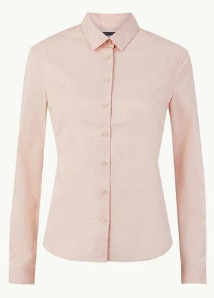 M&s нежно-розовая пудровая хлопковая блуза рубашка, р.24-52