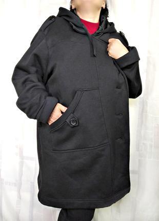 Пальто, куртка из плотного трикотажа с начесом, с капюшоном, р. 62-68 (ог 170)