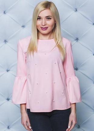 Женская нарядная блуза с жемчугом