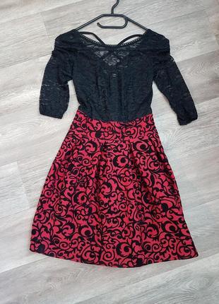 Платье гипюровый верх бархатная юбка черное с красным