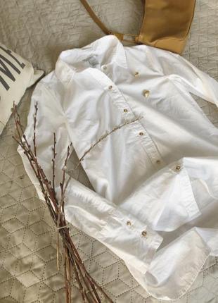 Белая базовая рубашка h&m