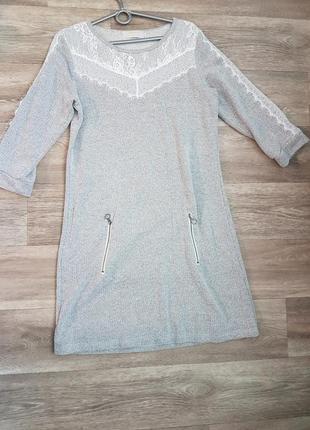 Платье cream вязанное с гипюровой вставкой