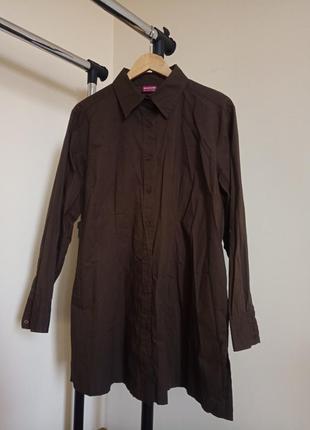 Рубашка платье шоколад из коттона хлопка