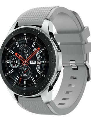 Силиконовый ремешок на часы samsung galaxy gear s3, galaxy watch серый