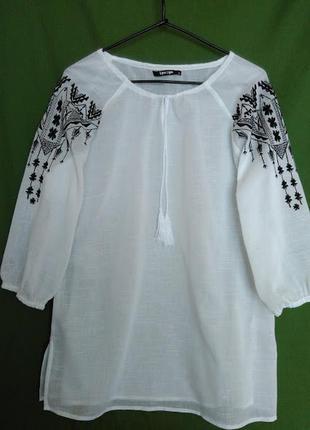 Блуза этническая вышиванка белая