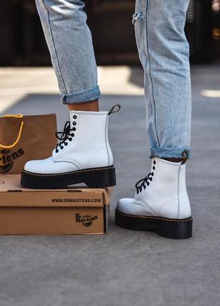 Женские шикарные ботинки dr. martens jadon white / натуральная кожа