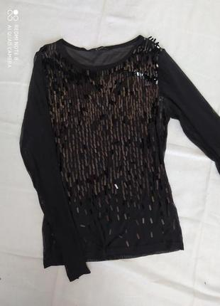 Стильна блуза джемпер в сіточку з пайєтками