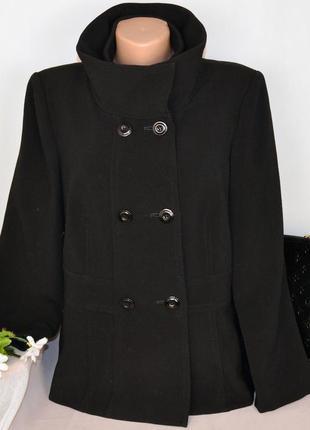 Черное демисезонное пальто полупальто с карманами ayette milan вискоза этикетка
