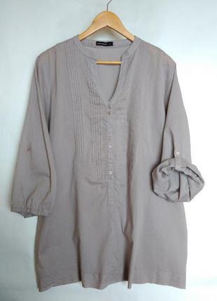 Блуза туника бежевая хаки хлопок