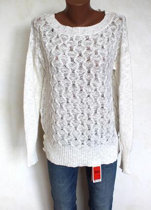 Нежный ажурный , белоснежный свитшот свитер оверсайз от m&co, доставка бесплатно.
