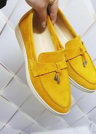 Желтые замшевые лоферы-туфли с кисточками!