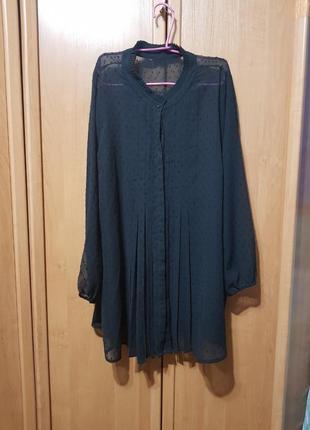 Удлинённая легкая черная рубашка, накидка, длинная рубашка