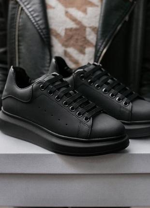 "Кожаные кроссовки alexander mcqueen ""mate black"" (36-40)💠"