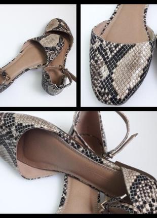 Босоножки балетки  плоской подошве со змеиным принтом asos design