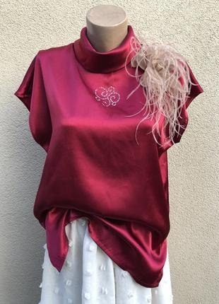 Атласная,марсала,блуза реглан,кофточка ,большой размер