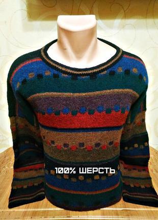 Шерстяной винтажный свитер kolor knits, пр-во ирландия