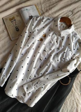Милая хлопковая рубашка в горошек от h&m